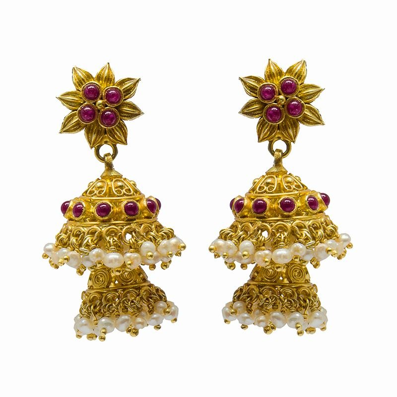 FLORAL TWO TIER  GOLD POLISHED JIMKI FOR LADIES