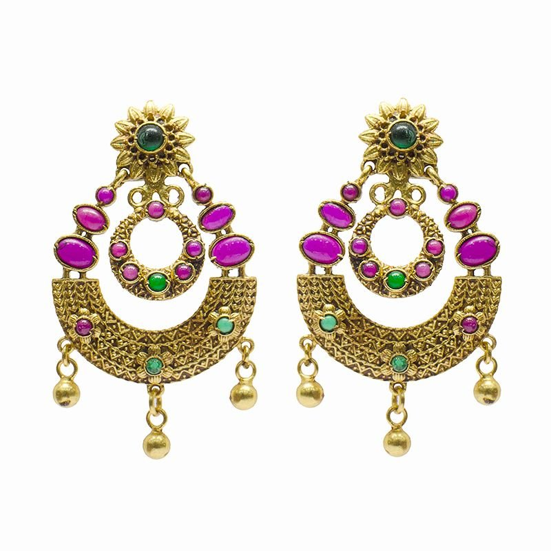 RED STONE GOLD POLISHED CHAND BALI FOR WIFE