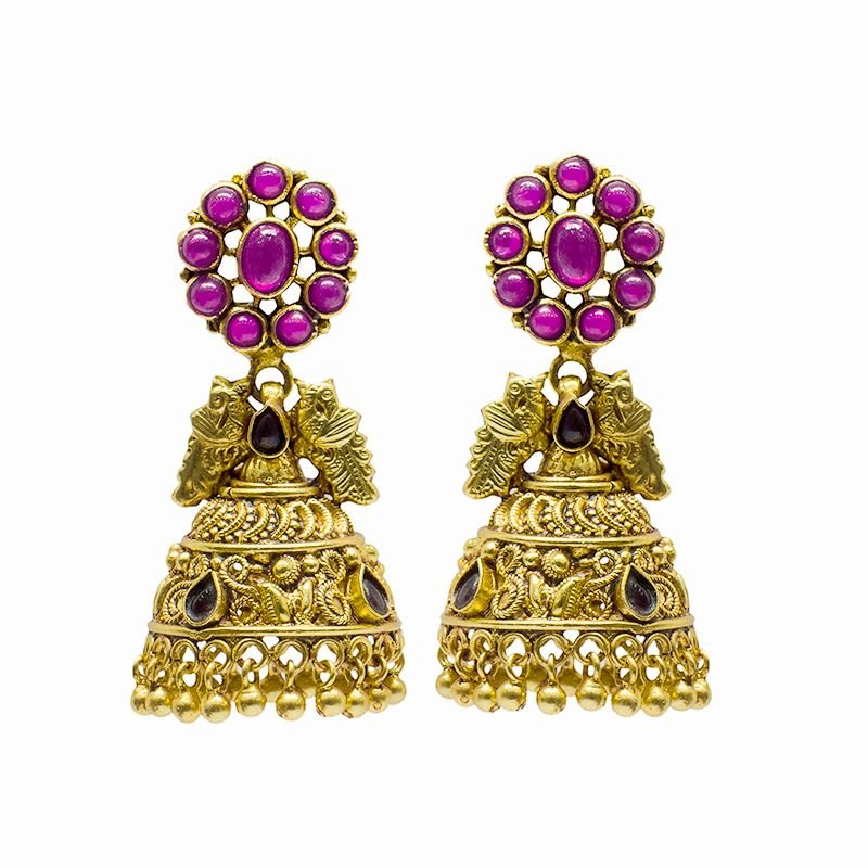 KL SPINAL GOLD POLISHED JHUMKI WITH RED STONE FOR GIRLS