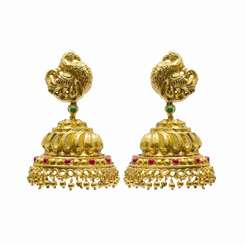 ANNAM GOLD POLISHED JHUMKI OFFICE WEAR ,PARTY WEAR FOR GIRLS