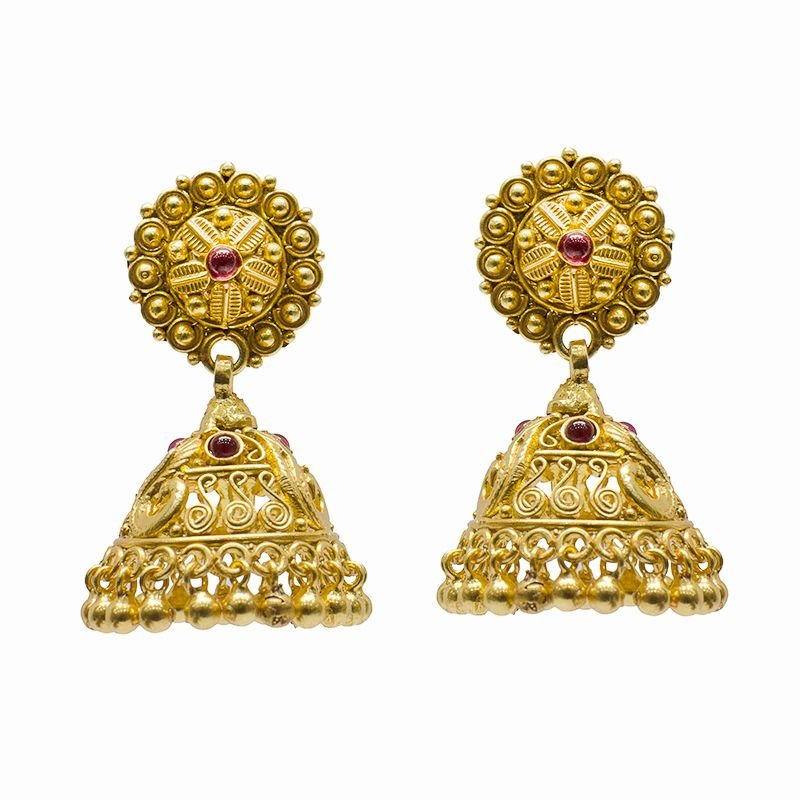 PEACOCK WIRE GOLD POLISHED JHUMKI FOR PRINCESS
