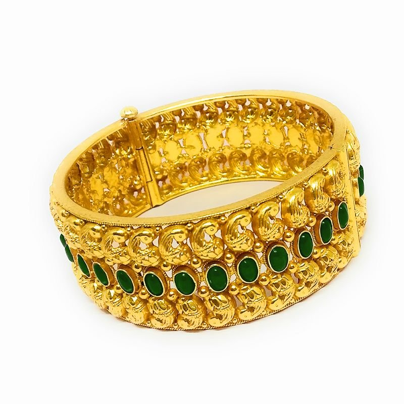 DOUBLE MANGO GREEN SPINAL  GOLD BANGLE FOR WIFE