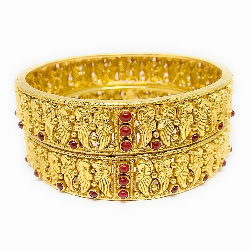 TRADITIONAL PEACOCK YELLOW GOLD BANGLES FOR WOMEN