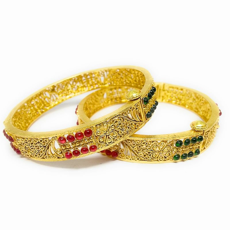 WIRE WORK RED & GREEN BANGLE FOR LADIES