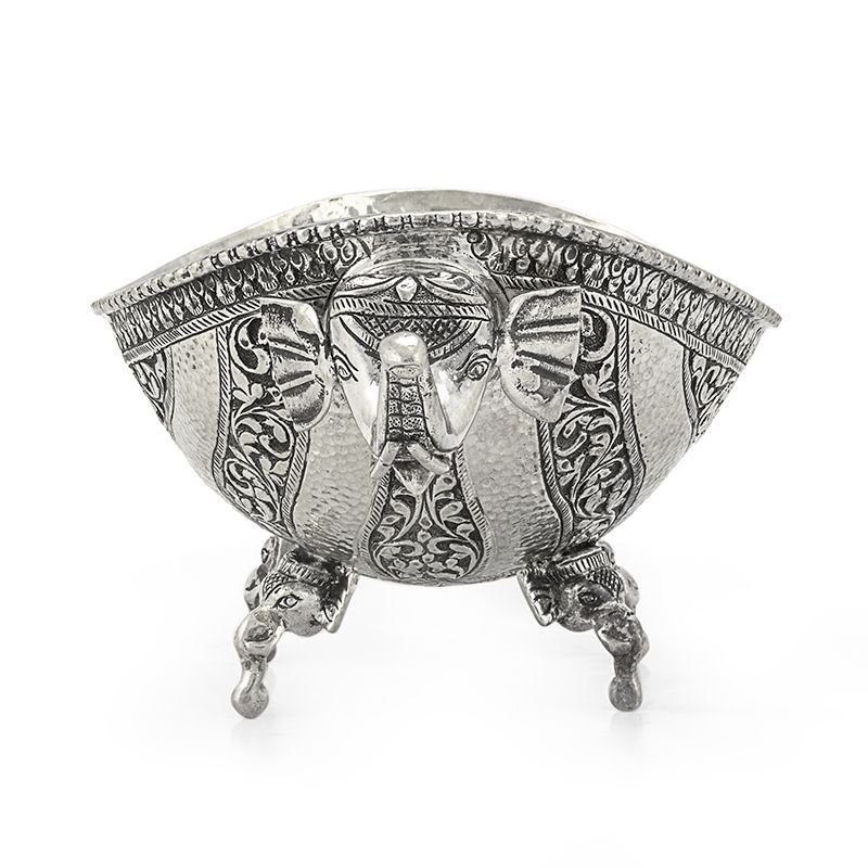 Silver Elephant trunk Oblong Pooja Bowl