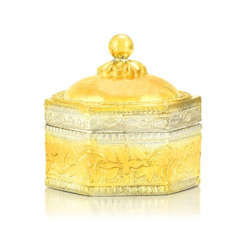 925 PURE SILVER GOLD POLISH KUMKUM BOX FOR WOMEN
