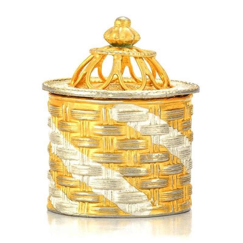 925 PURE SILVER NAGAS DESIGN  GOLD POLISH KUMKUM BOX