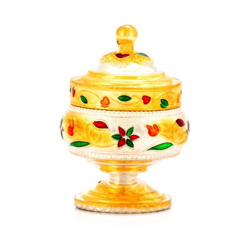 925 PURE SILVER GOLD FINSED KUMKUM BOX