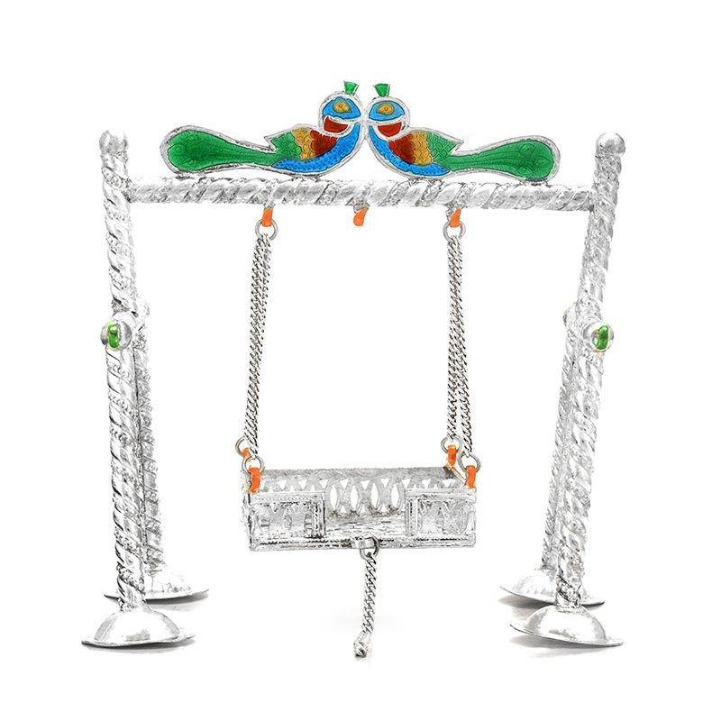 Pure Silver Enamel Swing for Kanhaiya