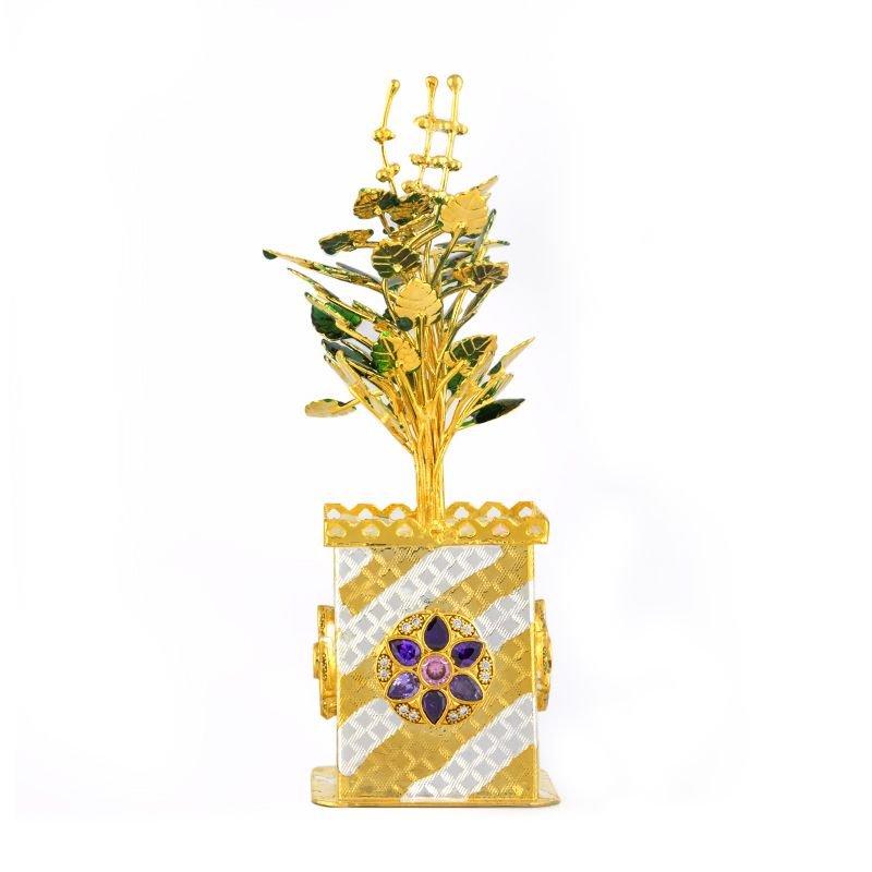 Pure Silver Gold polished Tulsi Plant Pooja Decorative,