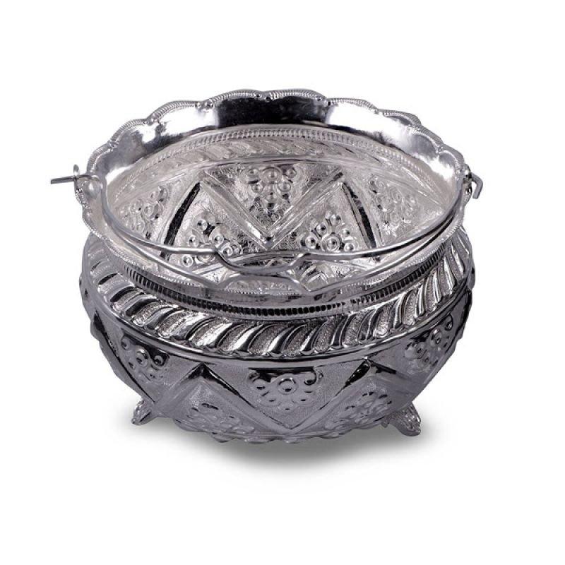 925 PURE SILVER HAND CRAFTED FLOWER  BASKET WITH HANDLE