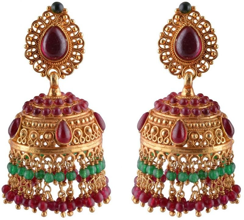 SILVER GOLD POLISHED RED COLOR  JHUMKAA FOR HOUSE WIFE
