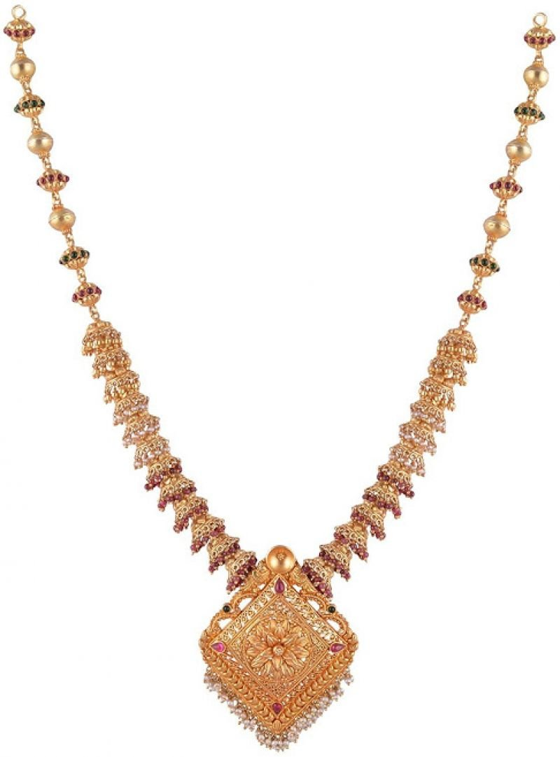 GOLD POLISHED SILVER JHUMKA NECKLACE