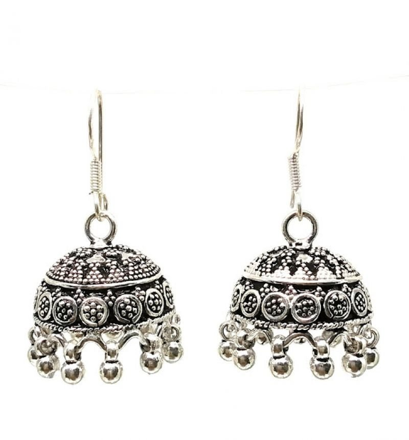 ANTIQUE SILVER FISH HOOK  JHUMKIS FOR WORKING WOMEN