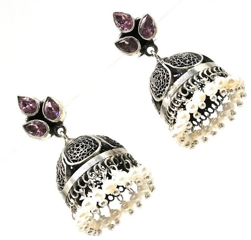 ANTIQUE SILVER THREE STONE MODEL  JHUMKA EARRINGS FOR WOMEN'S AND GIRLS